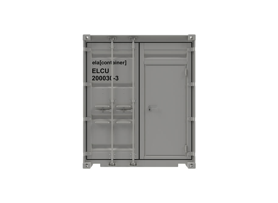 20 ft ELA Offshore Workshop Container insulated + extra door - closed frontview