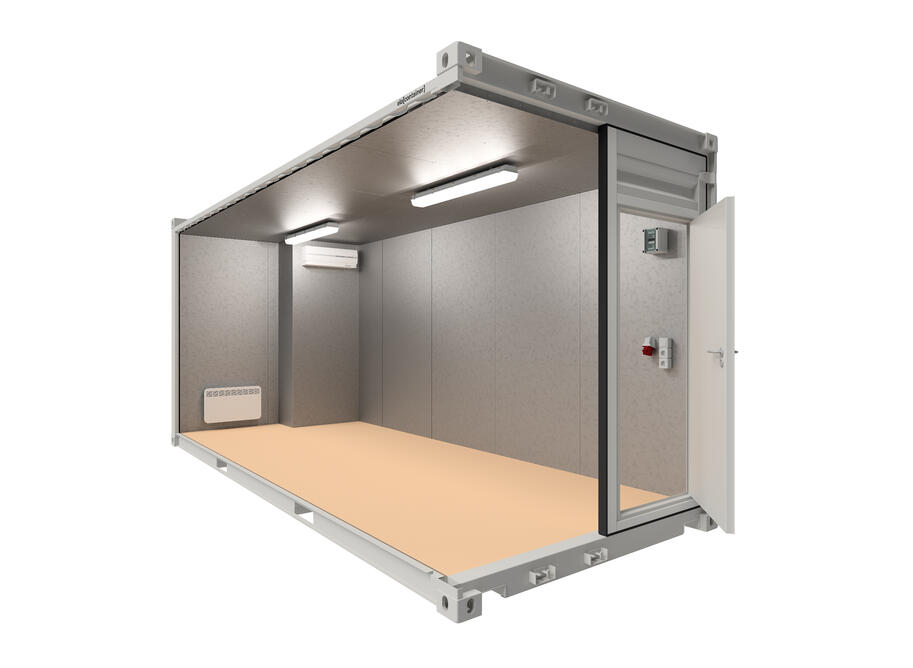 20 ft ELA Offshore Workshop Container insulated + extra door - schräge Ansicht offen