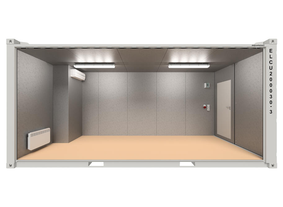 20 ft ELA Offshore Workshop Container insulated + extra door - open sideview